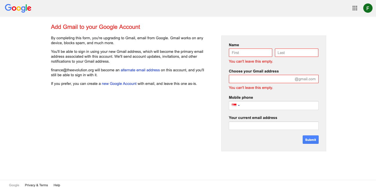 gmail new account creation page