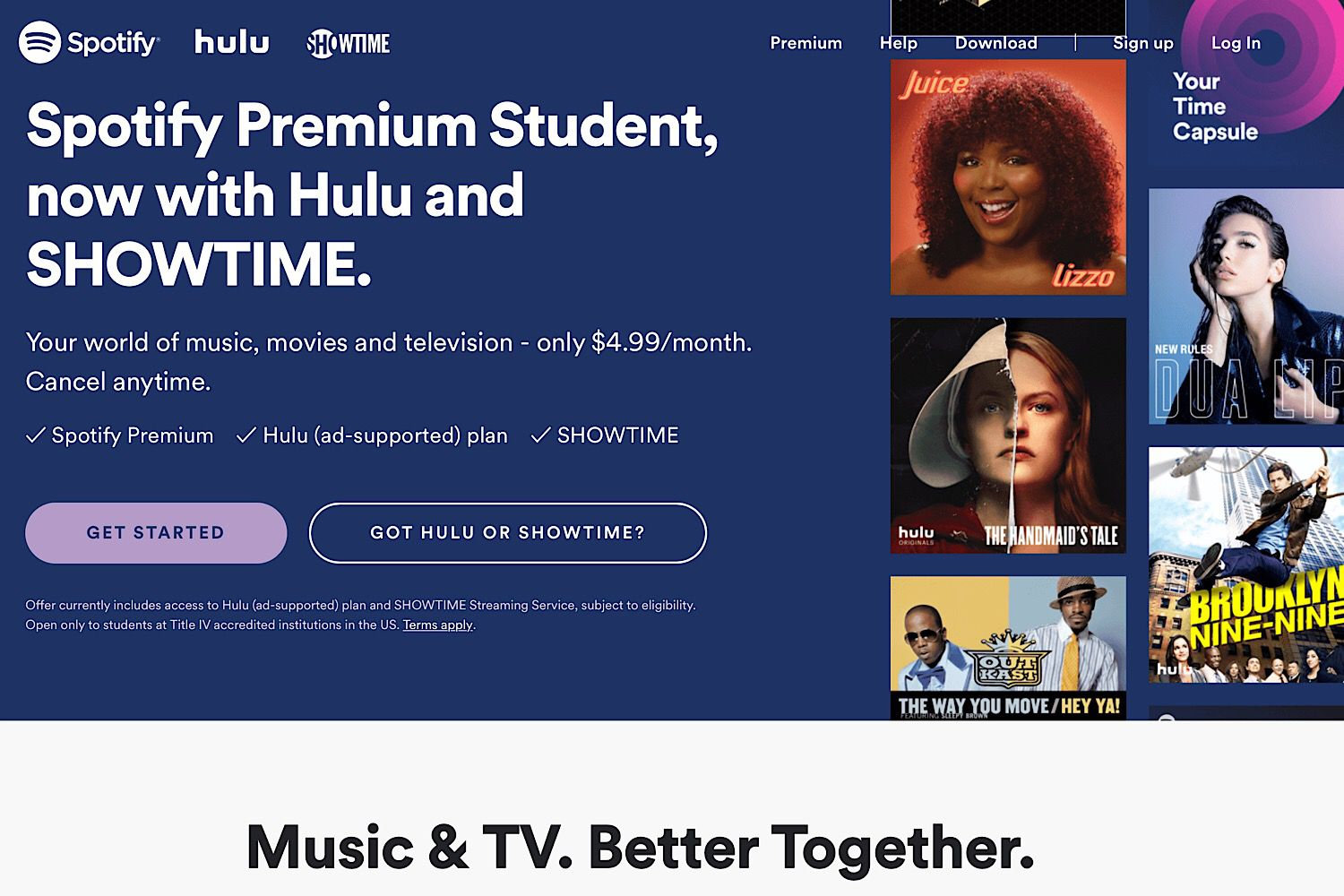 spotify with hulu and showtime